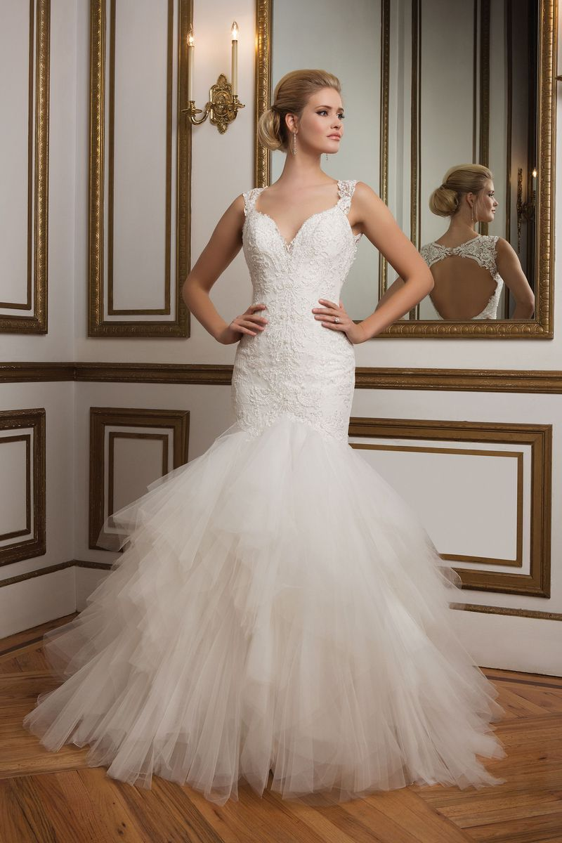 Justin Alexander Style 8827 Lace Mermaid Gown With Tulle