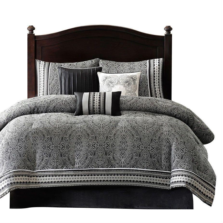 Queen Size 7 Piece Comforter Set in Black White Grey