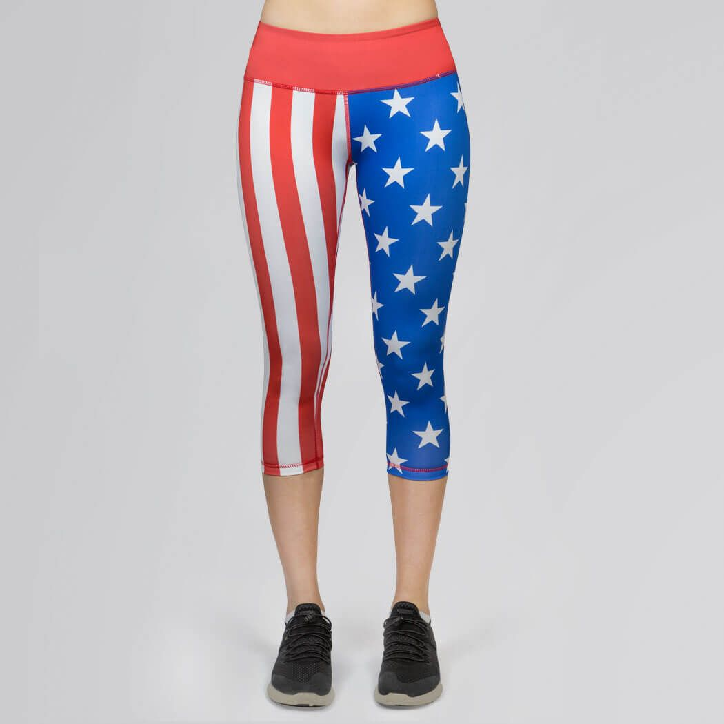 8d2b3f18f6b00 USA Runner's Performance Capris - USA Flag   Patriotic Run Apparel    Lightweight Runners Capris   Adult Small Girls Running Capris   Red/White/ Blue