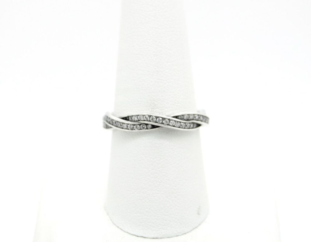 cf2bd9dcc Pandora S925 ALE 60 Twist Of Fate Stackable Ring, Clear CZ, Size - 9 # PANDORA #Stackable
