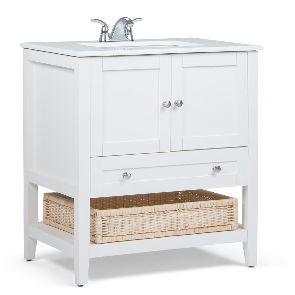 Simpli Home Cape Cod 30 In Bath Vanity In Soft White With Quartz