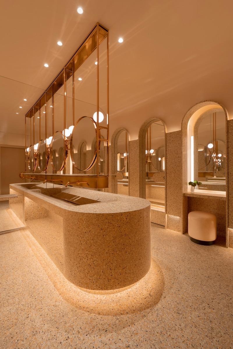 New Marcus Restaurant At Four Seasons Hotel Montreal Atelier Zebulon Perron In 2020 Restroom Design Restaurant Bathroom Washroom Design