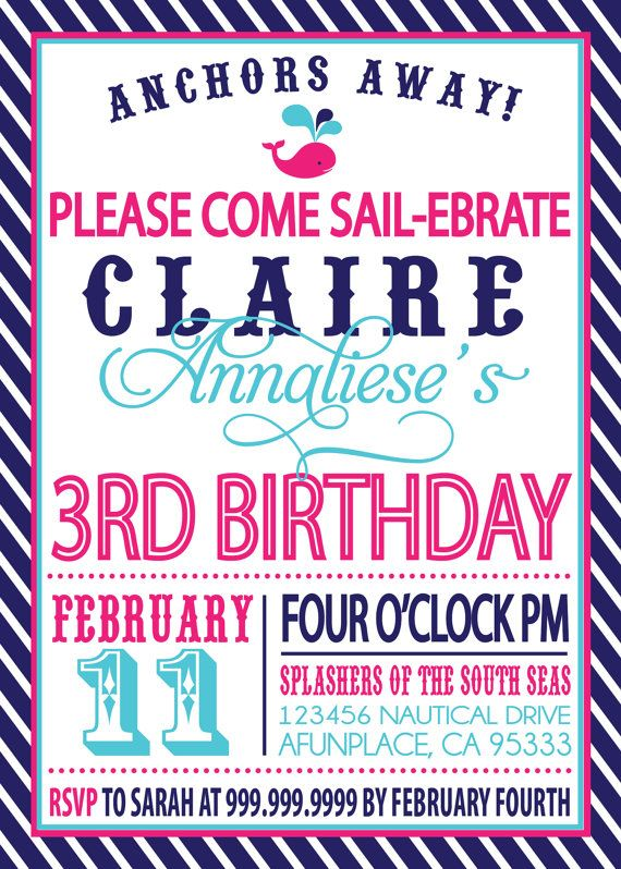 Sailor Girl Nautical Birthday Invitation Via Etsy