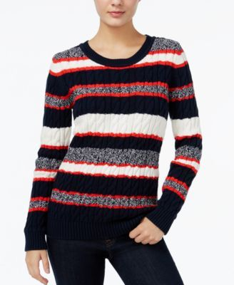 TOMMY HILFIGER Tommy Hilfiger Cecelia Striped Cable-Knit Sweater, Only at Macy's. #tommyhilfiger #cloth # sweaters