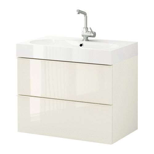 Morgon BrÅviken Sink Cabinet With 2 Drawers High Gloss White Ikea