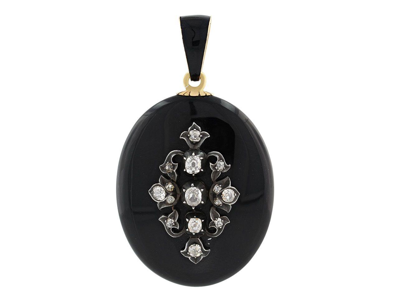 Antique Victorian Diamond Mourning Pendant in 14K from Beladora.com