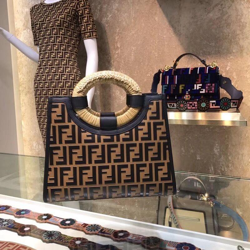 79083c9cd Fendi Multiocolor Runaway Small Shopper Tote Bag With Woven Rattan Handles  Brown2018