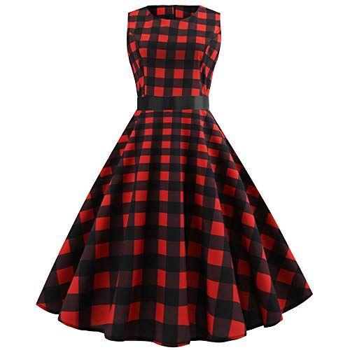 8641d12b676fd Topgrowth Abito Senza Maniche Donna Vintage Scozzese Swing Abiti Plaid Dress  Casuale Sera Rosso Vestito da