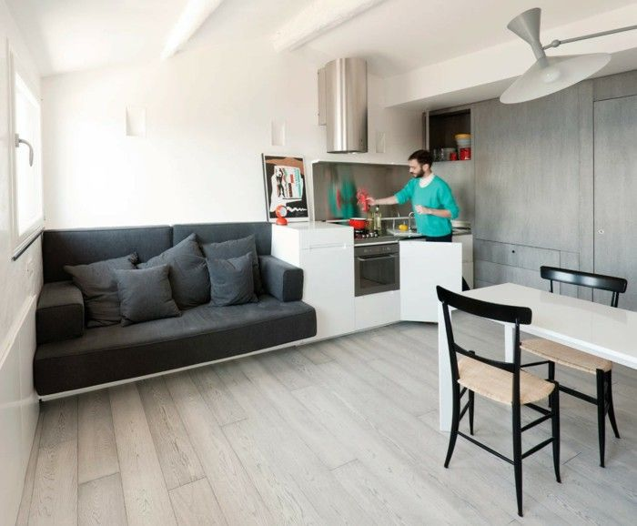 One Room Apartment Gray Sofa Dining Table Kitchen Interior Design