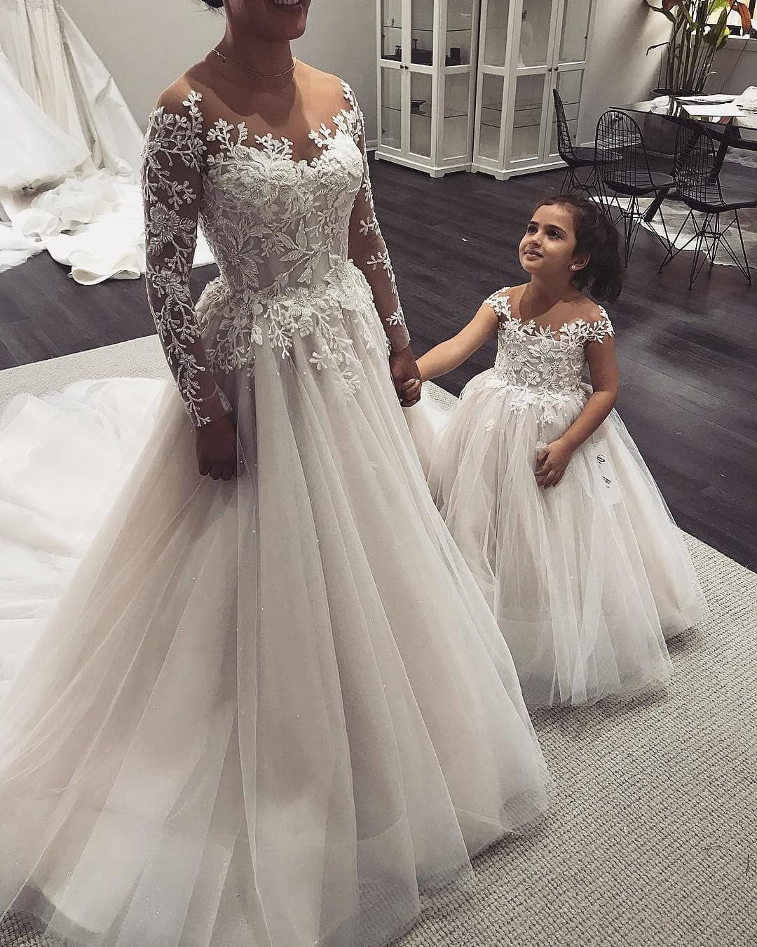 Aline illusion neck long sleeves tulle wedding dress with appliques