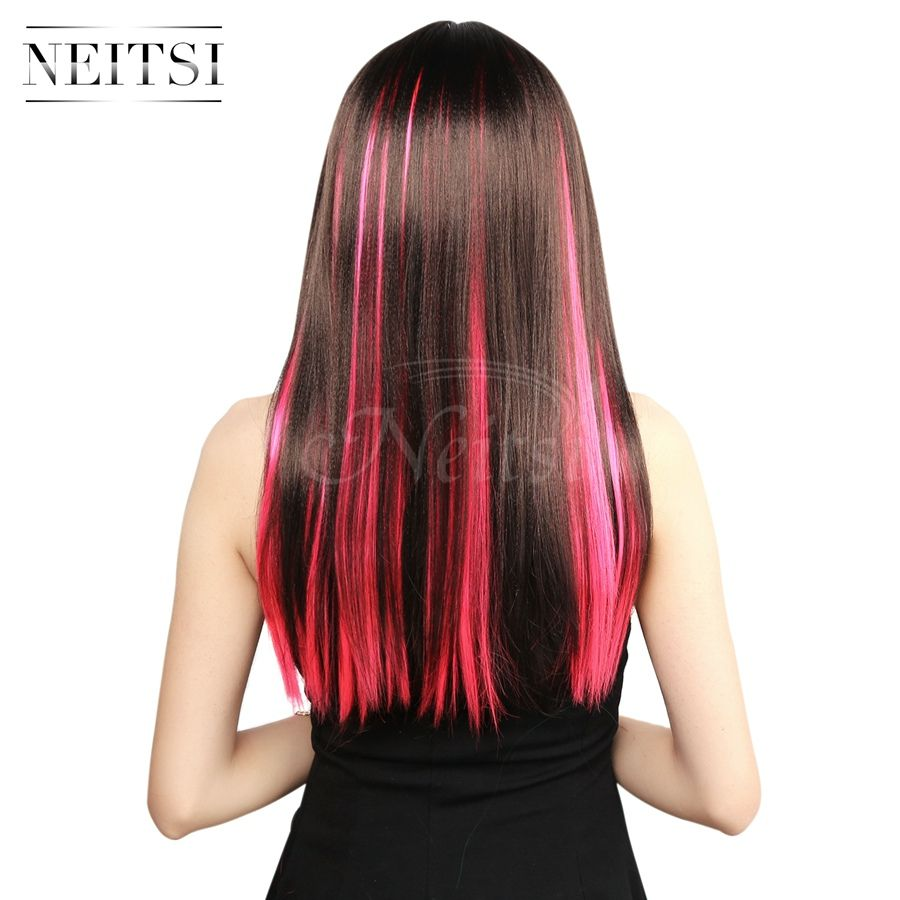 Neitsi 10pcspack 18inch colored highlight synthetic clip on in neitsi colored highlight synthetic clip on in hair extensions pink support us local delivery 7 day return pmusecretfo Images