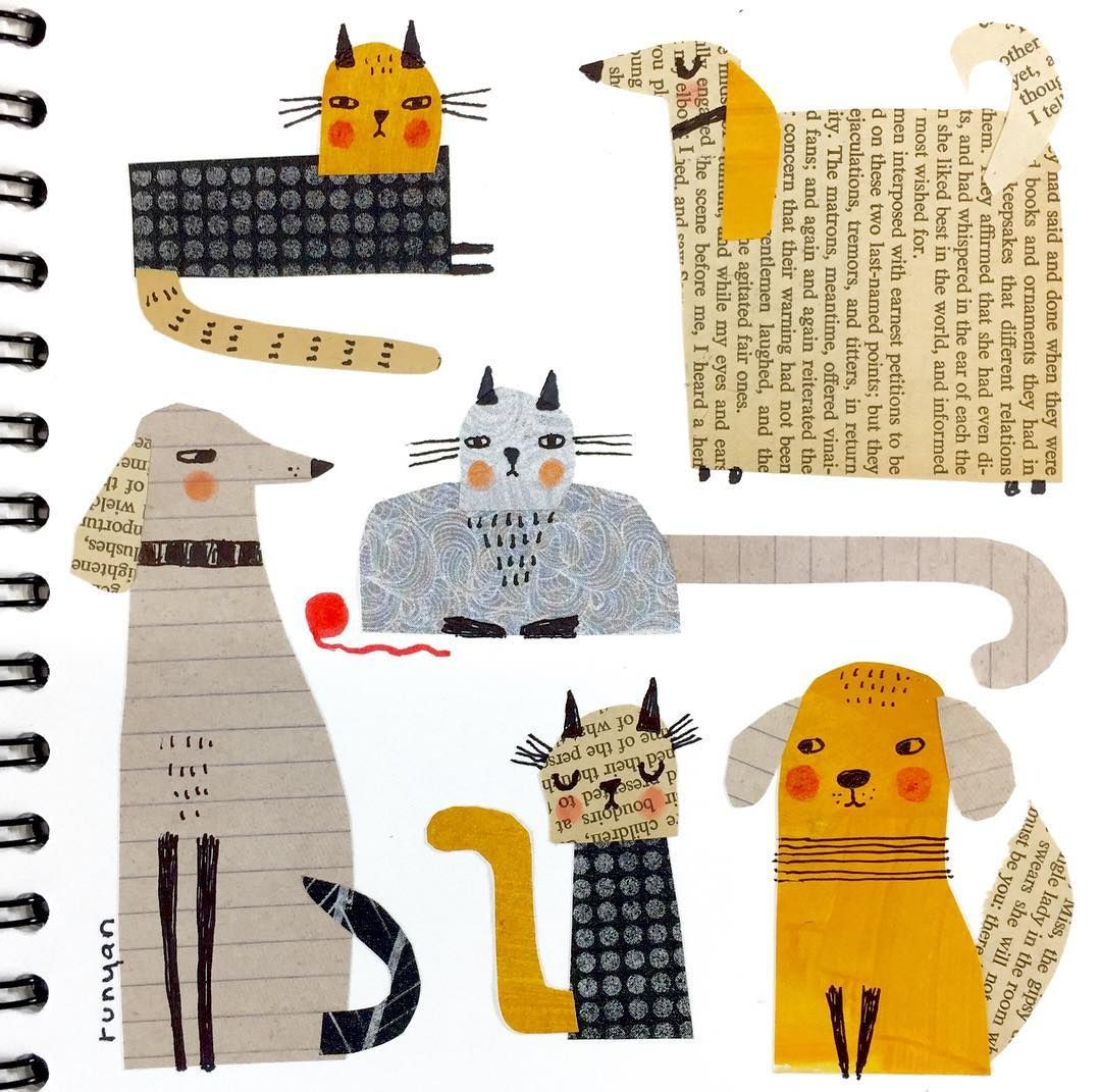 42/100  Furry friends. 😽❤️🐶 Spent a good part of the day working on GDPR compliance stuff. 🤪 Sketchbook relief welcome! .  .  #100dayproject #100daysofsketchbook #dog #dogsofinstagram #cat #catsofinstagram #cutpaper #cutpaperart #collage #collageart  #dailycreation #sketchbook #drawing #terryrunyan