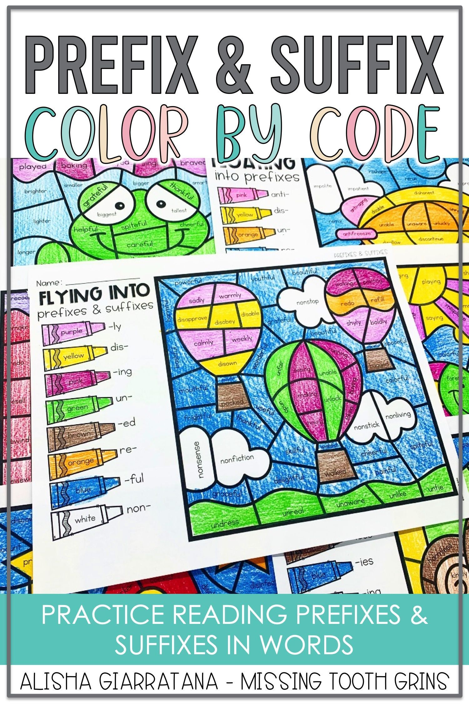 Color By Code Suffixes And Prefixes