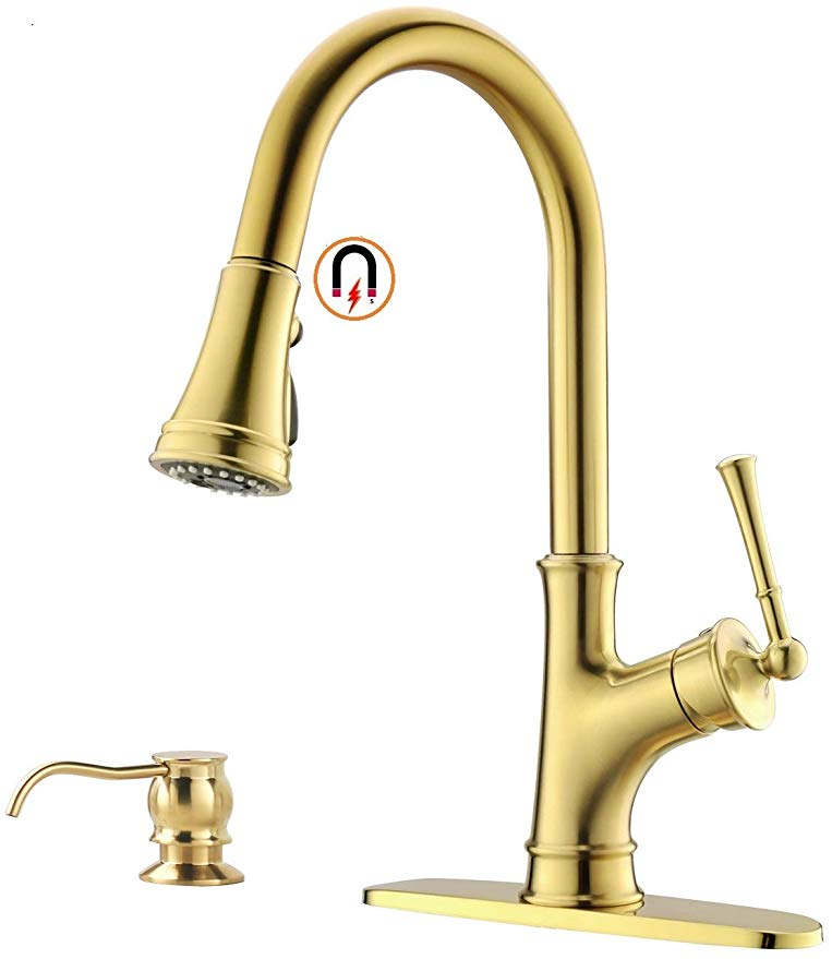 gold kitchen faucet with pull down