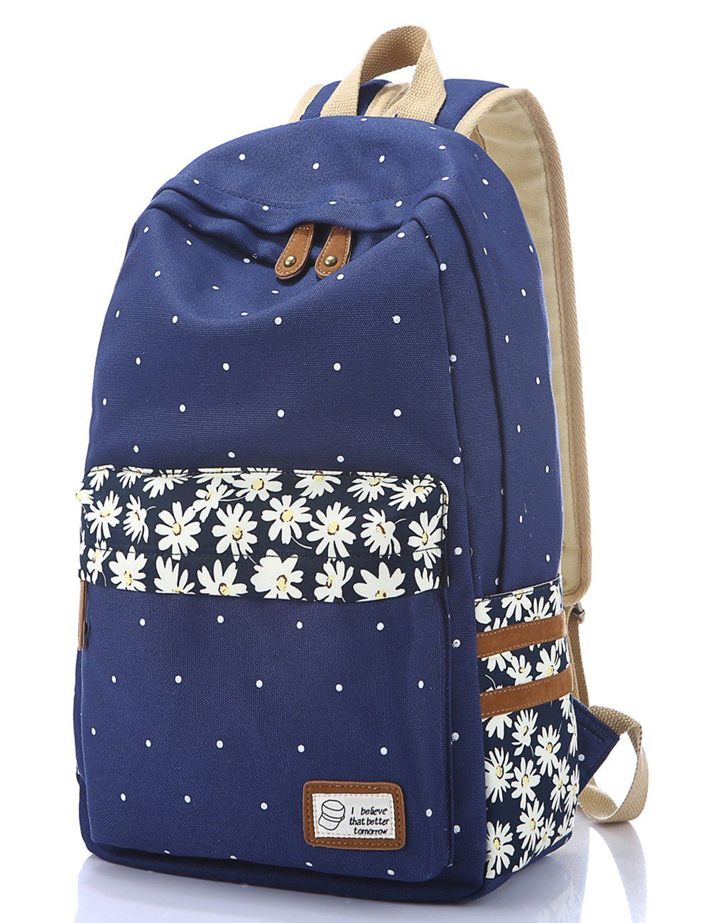 9a1f950463ca Leaper Casual Style Polka Dots Canvas Oxford Laptop Backpack  School Bag   Travel Daypack  Handbag with Laptop Lining (FP-dark blue)
