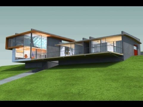 Modern sloping lot house design youtube sloped house for Sloped lot home designs