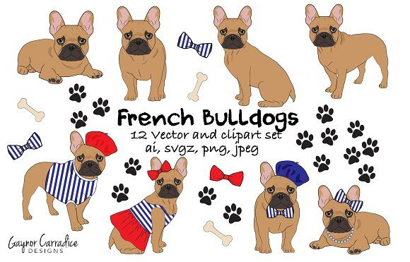 French Bulldog Vector Clipart Set Bulldog Clipart French