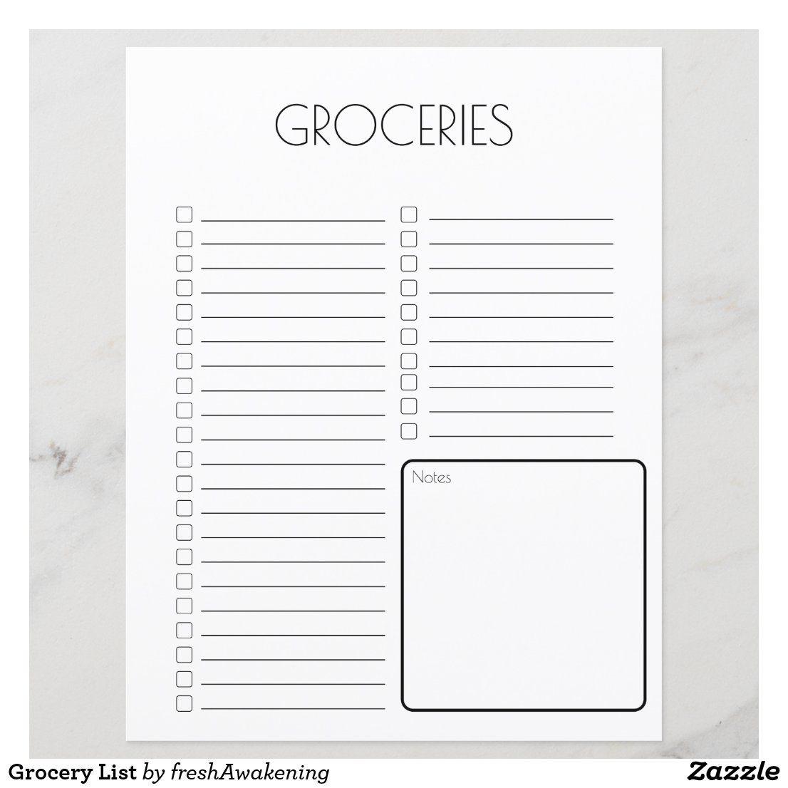 Grocery List Zazzle Com Free Printable Grocery List Templates Free Printable Grocery Shopping List Grocery Shopping List Template