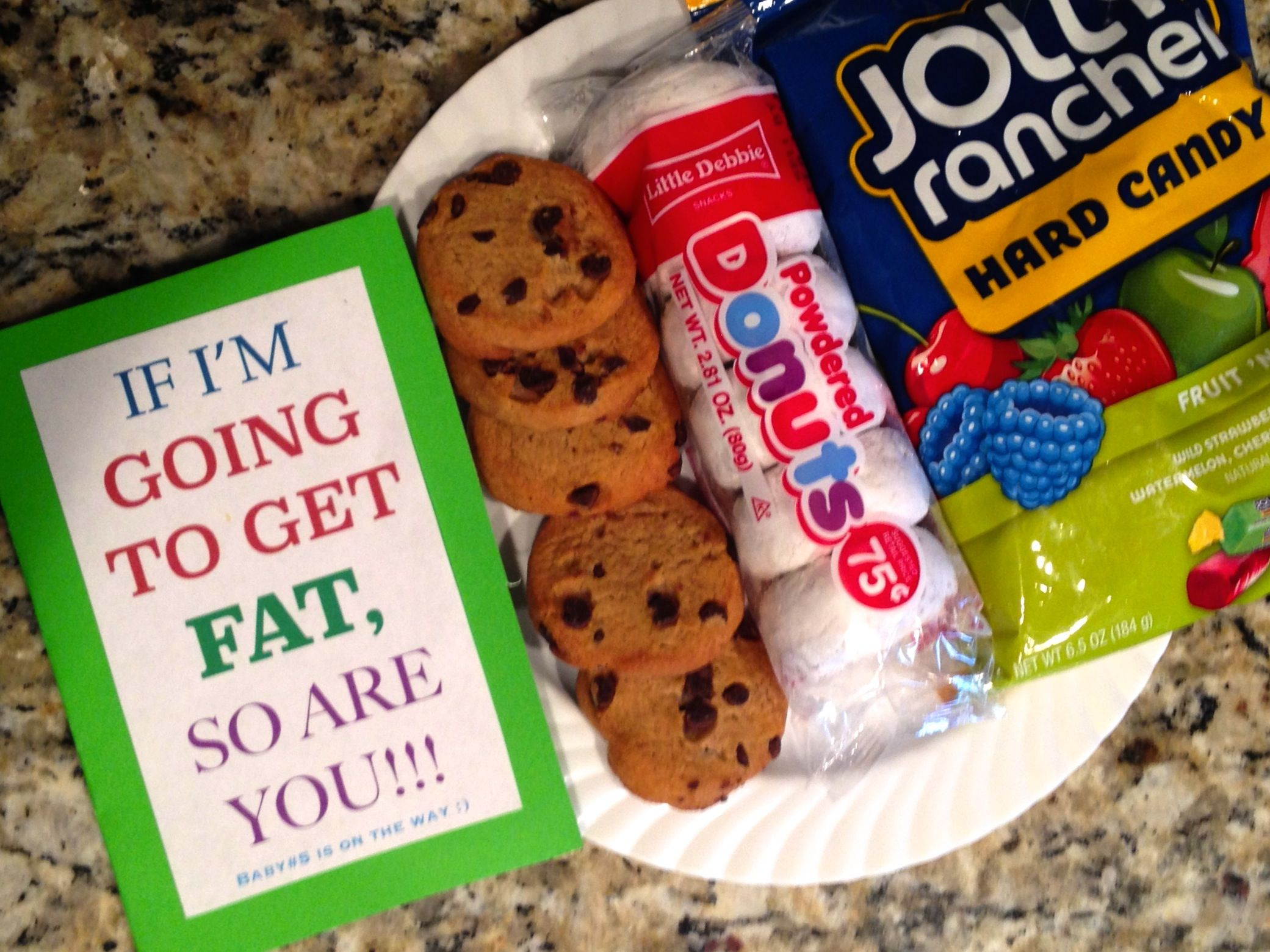 Pregnancy reveal for my husband I left this card with his – Baby Announcement Candy