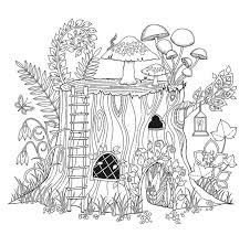 Image Result For Fairy Tree House Coloring Pages Garden Coloring Pages Free Coloring Pages Coloring Pages For Grown Ups