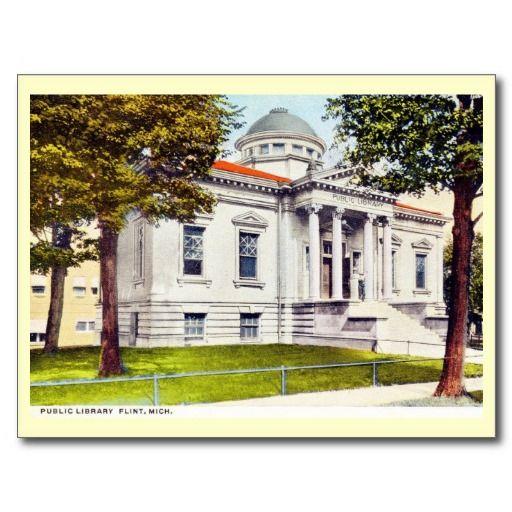 Abandoned Places In Battle Creek Michigan: Library, Flint, Michigan Vintage Postcard
