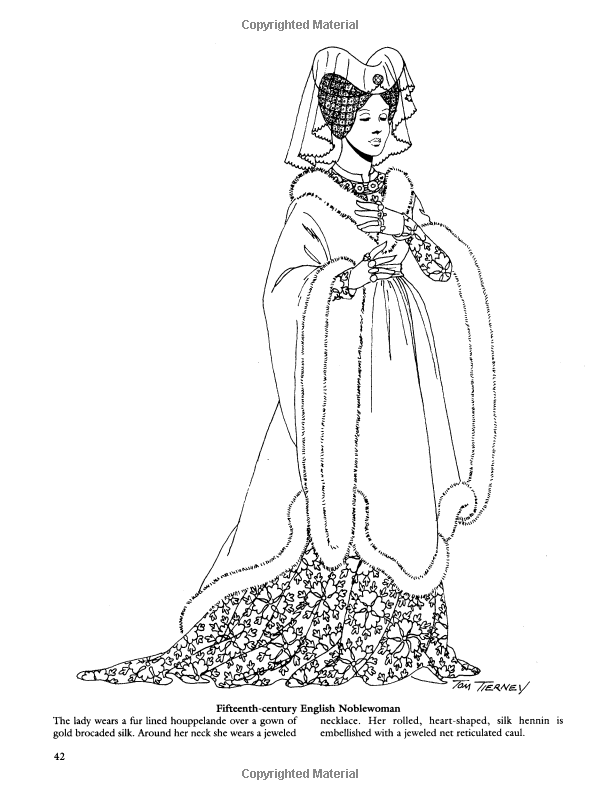 Medieval Fashions Coloring Book Dover Fashion Coloring