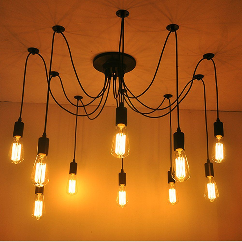 Fuloon vintage edison multiple ajustable diy ceiling spider lamp