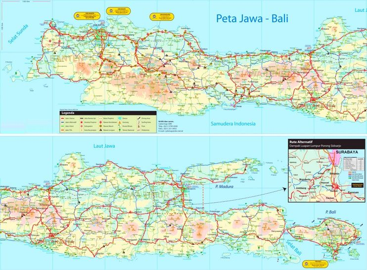 Large detailed tourist map of Java Maps Pinterest Tourist map