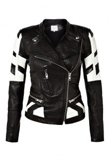Limited Edition Hyde Black and White Leather Biker Jacket