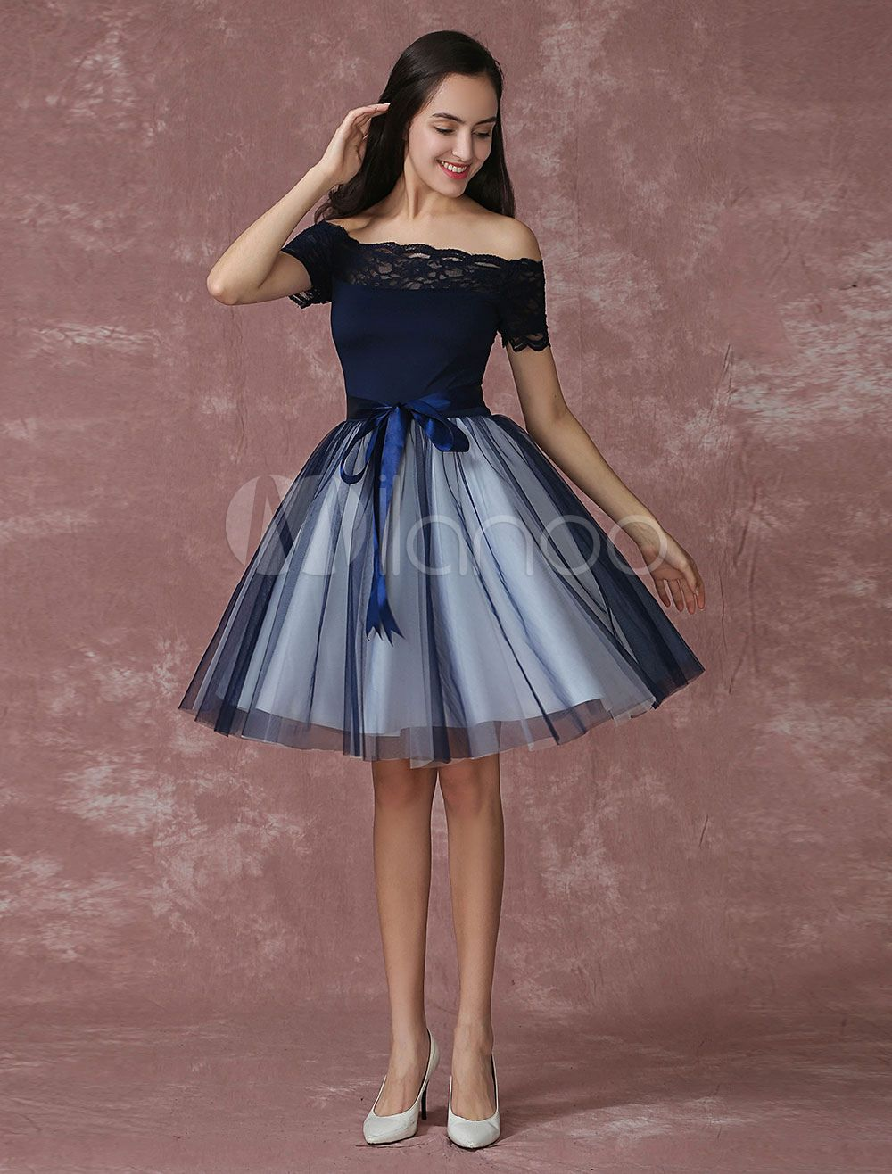 8d7b812926 Tulle Homecoming Dress Lace Off The Shoulder Prom Dress A Line Knee Length  Cocktail Dress With Detachable Bow Sash