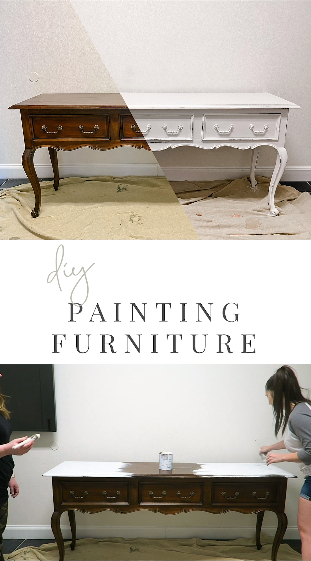 How to Paint Furniture DIY - Chalkpaint - Refinish Furniture - Paint Old Furniture - Farmhouse Furniture - Furniture Flip - Upcycled - Jolie Paint - Dove Gray - Rustic Furniture - How to