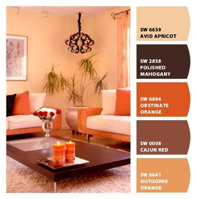 Contemporary Cream And Orange Living Room On Houzz. Paint Colors From Chip  It! By Part 90