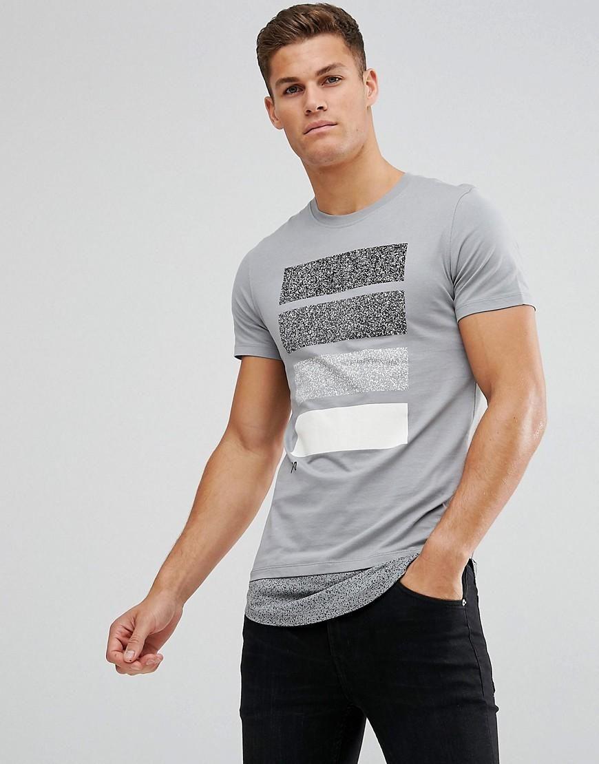 Shop Jack & Jones Core Longline T-Shirt With Contrast Drop Hem Detail at  ASOS.