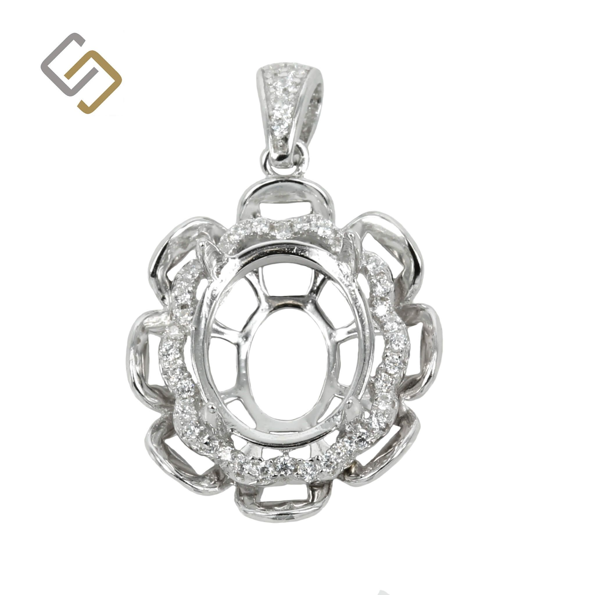 Oval Flower Pendant with Cubic Zirconias Set Frame and