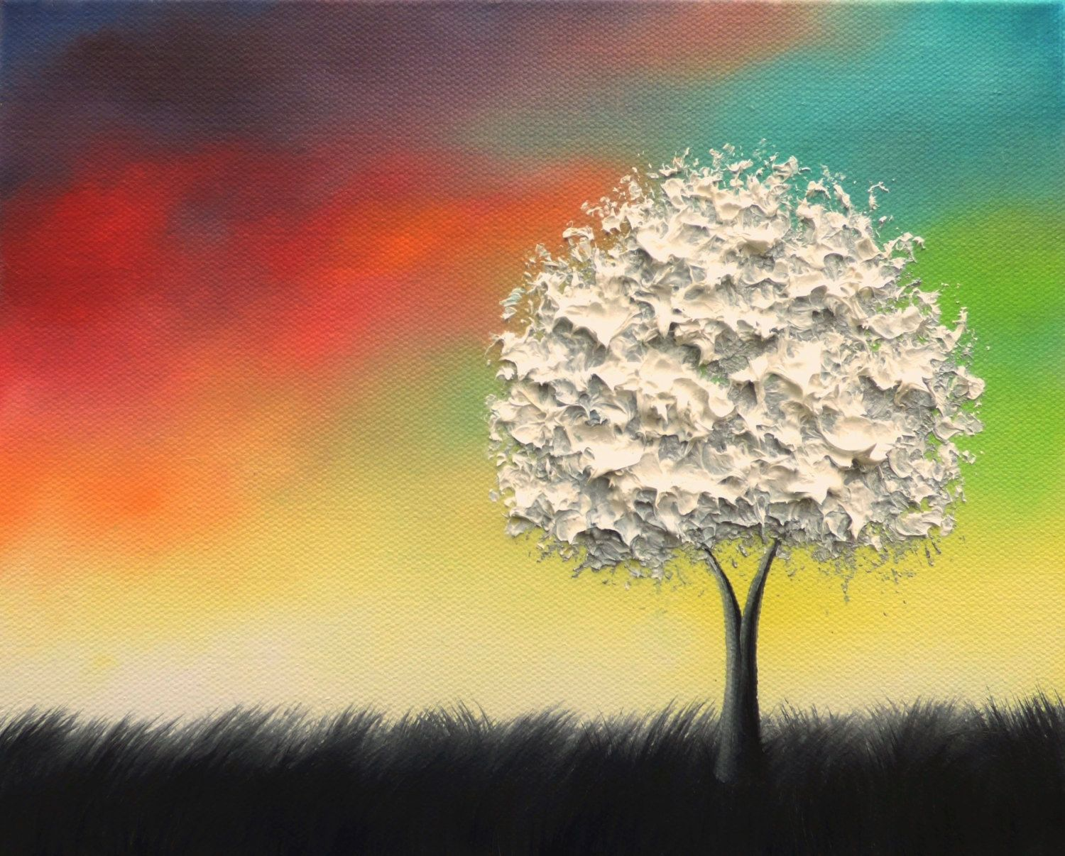 Colorful Wall Art, Black and White Tree Art Print, LIMITED Edition ...