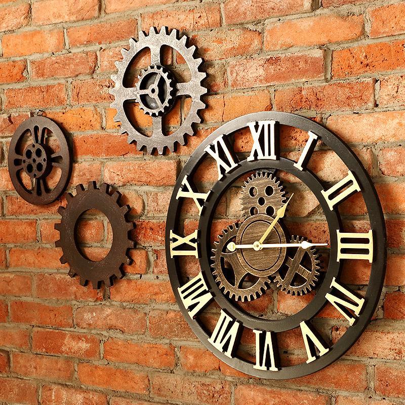Decorative Big Gear Wooden Vintage Wall Clock Gear Wall Clock Large Gear Wall Clock Vintage Wall Clock