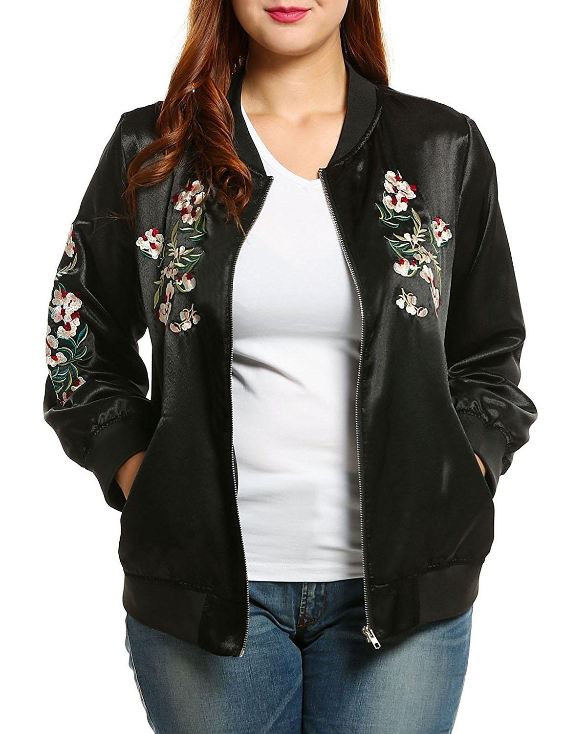 b867bc435 Women's Embroidered Floral Phenix Plus Size Vintage Casual Bomber ...
