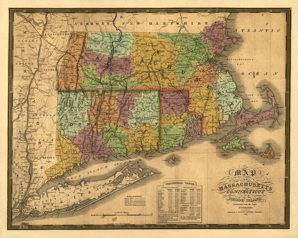1831 antique Map Massachusetts Connecticut Rhode