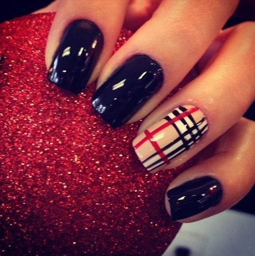 Burberry With Black Plaid Nail Art Nails Checkered Striped