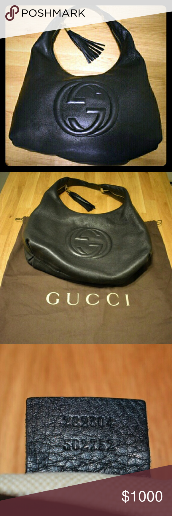 GUCCI Pebbled Leather Soho Hobo Bag This gorgeous black pebbled calfskin leather soho hobo bag features the iconic bold GG logo embroidered in the front. The bag is made of supple & soft black leather w/ gold tone hardware & black leather tassel.  Retail price is $2,090. The exterior leather is clean and beautiful throughout with signs of wear around the hardwear of the tassel and the strap has softened from gentle use. The interior lining has soiling at the base & pen markings. Gucci Bags…