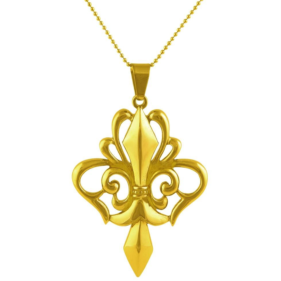 Louis FleurdeLys Gold Stainless Steel Mens Pendant Necklace by