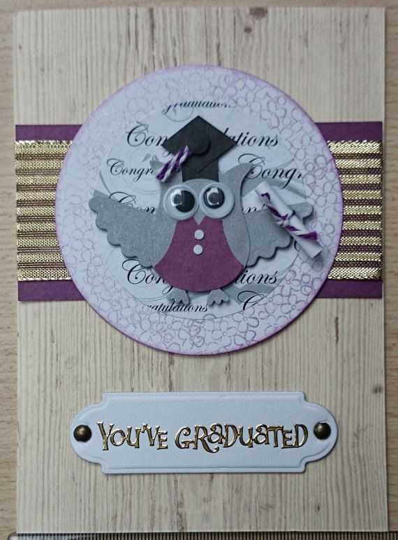 https://www.etsy.com/shop/SarahLouCards Congratulations You've Graduated!  Lovely Stampin' UP Owl Punch graduation card, purple, gold & wood theme