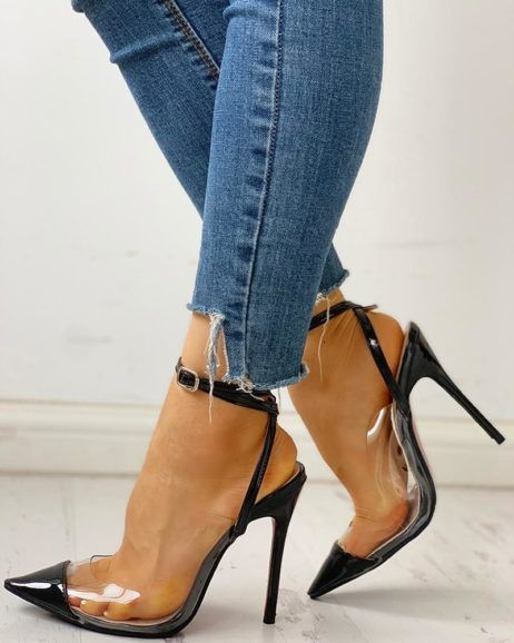 Pointed Toe Transparent Slingback Thin Heels #modefürfrauen