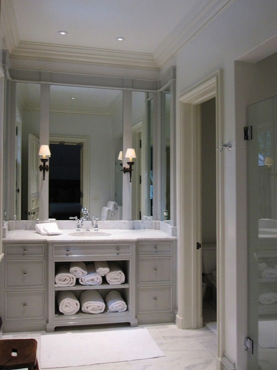 Bathrooms Extra Wide Single Vanity Marble Countertop Tiles Floor Frameless Gl Shower Yes Please Gorgeous Gray