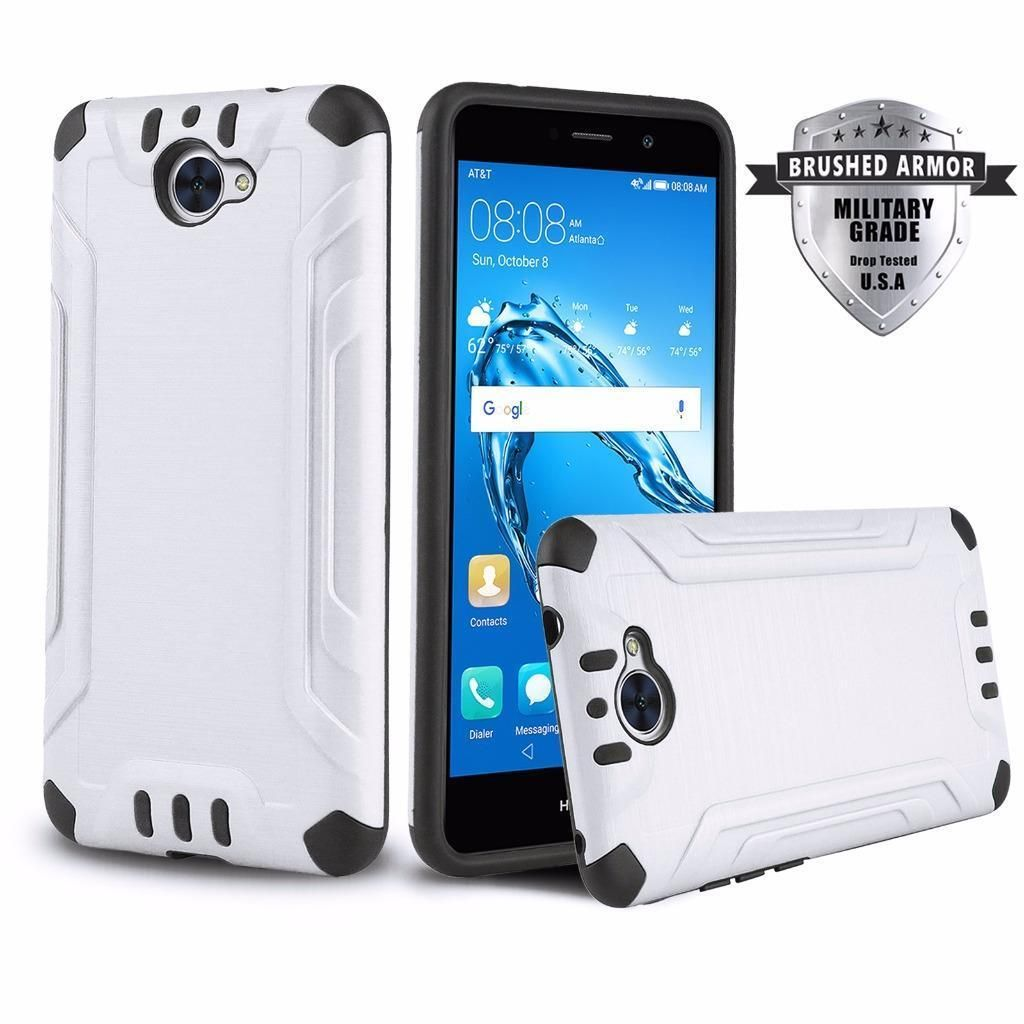White Brushed Armor Shockproof Hybrid Cover Phone Case For