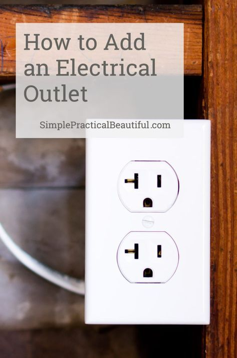 How to add an electrical outlet is part of Diy home repair, Home electrical wiring, Electrical outlets, Home repair, Diy electrical, Diy home improvement - We needed a new electrical outlet in our garage for our irrigation timer, so we connected to an existing outlet in the garage to create one  This video shows how we did it
