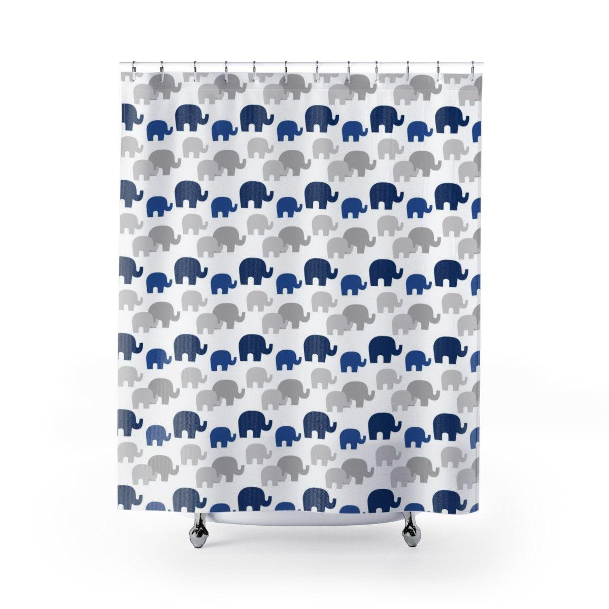 Navy Blue Elephant Shower Curtains Kids Boys Bathroom Bathtub Etsy In 2020 Kids Shower Curtain Elephant Shower Curtains Kids Bathroom Boys