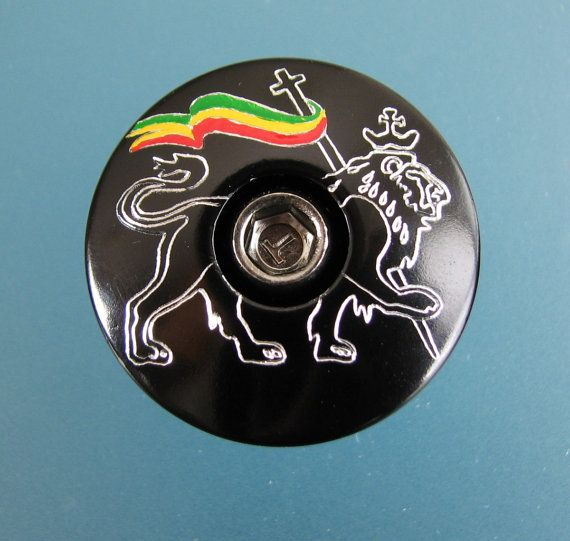 Conquering Lion Of Judah Bike Headset Top Cap Black Custom Engraved Lowe Judas