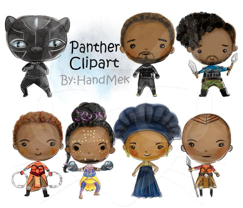 Wakanda Inspired Characters Clipart Instant Download Png File Etsy Clip Art Coraline Characters Png