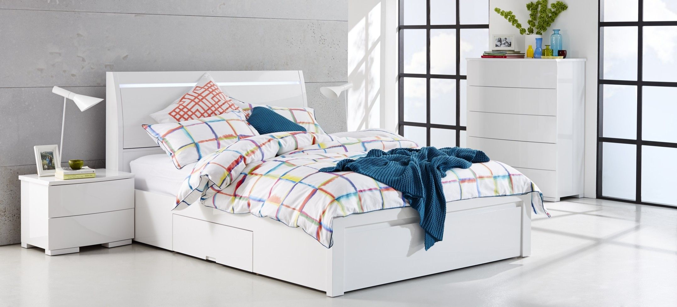 Chicago White Gloss Bedroom Furniture Suite with multi-coloured ...